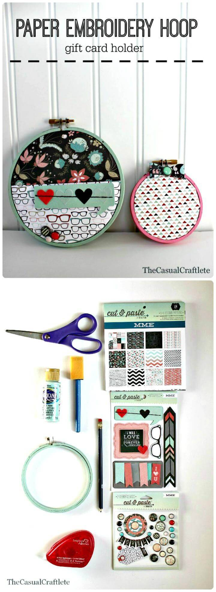 easy DIY paper embroidery hoop gift card holder