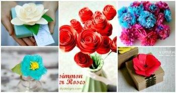30 DIY Paper Flowers (Step by Step Tutorials / Template)