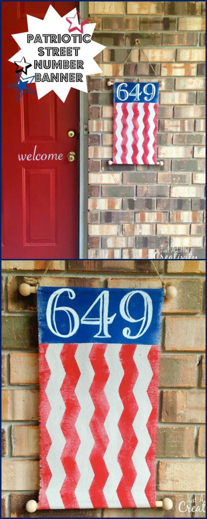 DIY Patriotic Street Number Banner