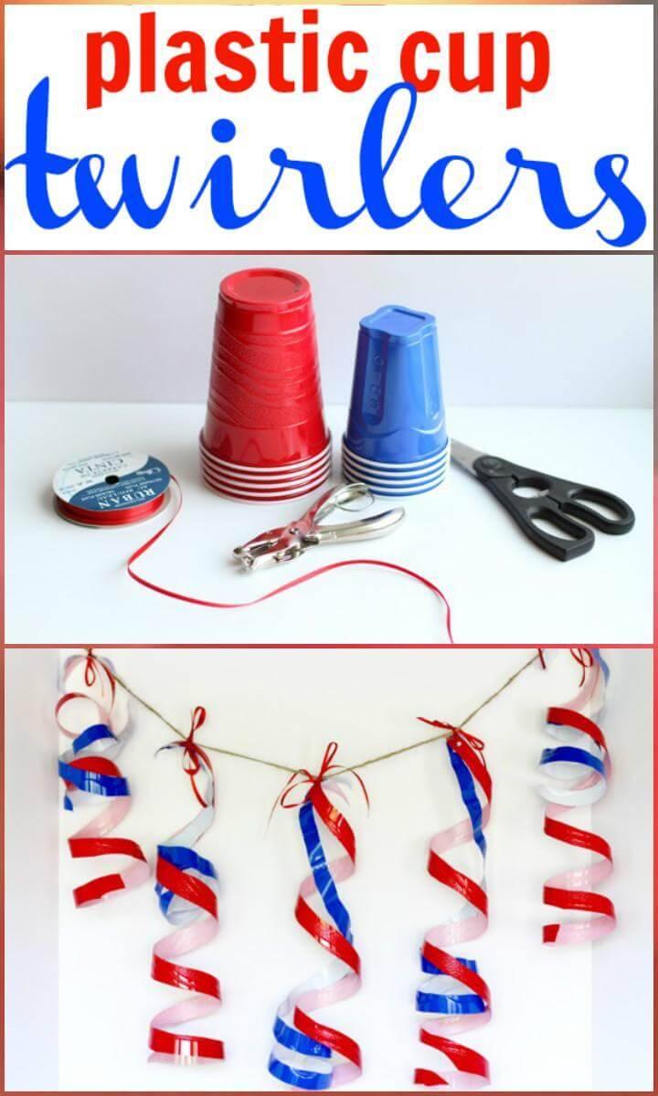 DIY Plastic Cup Patriotic Twirlers