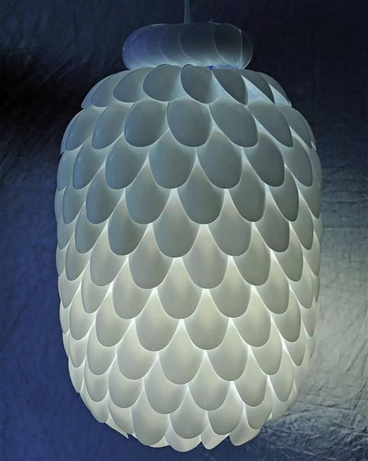 Handmade Plastic Spoon Pendant Lamp