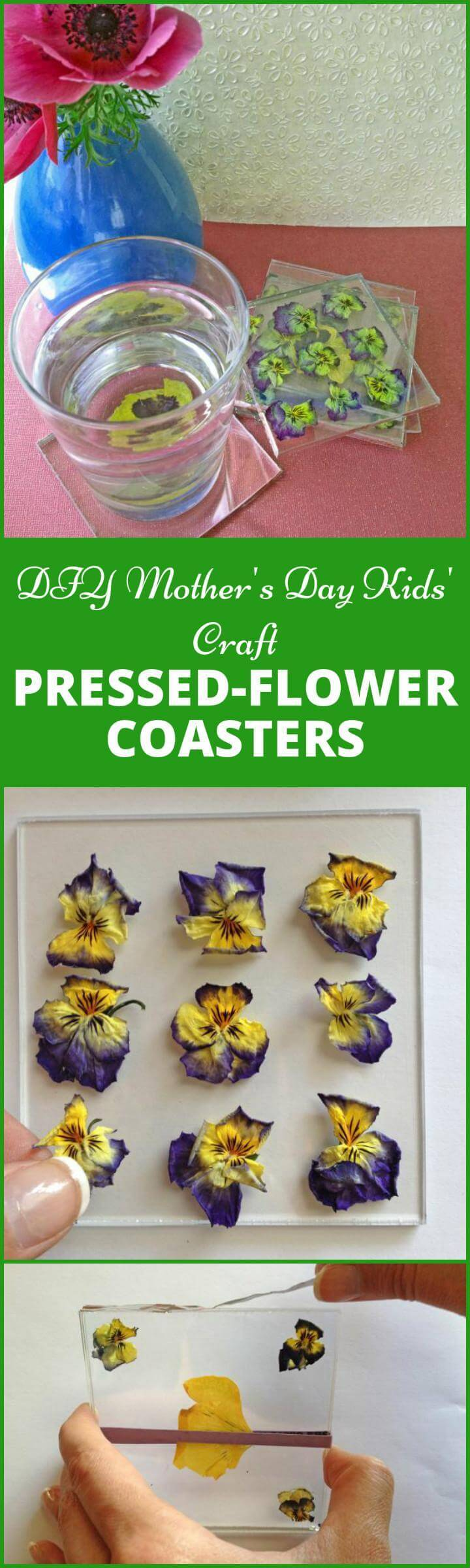 Easy DIY pressed flower coasters for Mother's Day