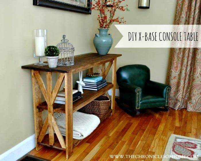 {DIY} RUSTIC X BASE CONSOLE TABLE