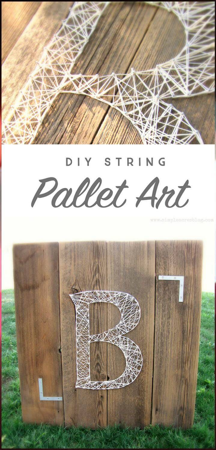 DIY Reclaimed Pallet Monogram String Art
