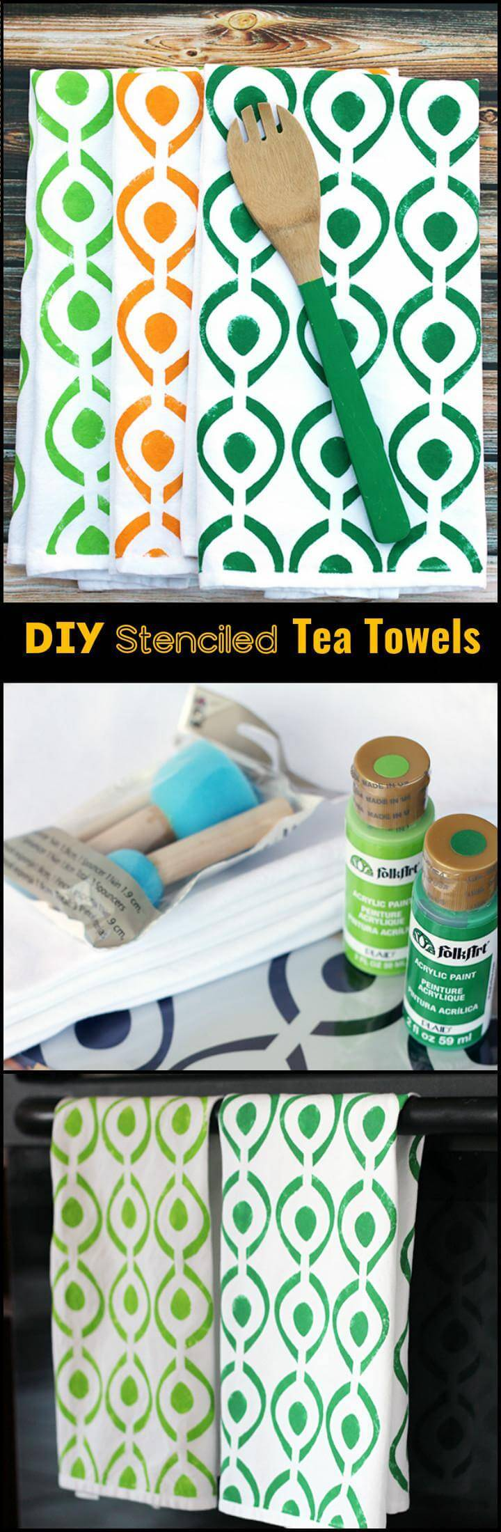 easy DIY stenciled tea towels