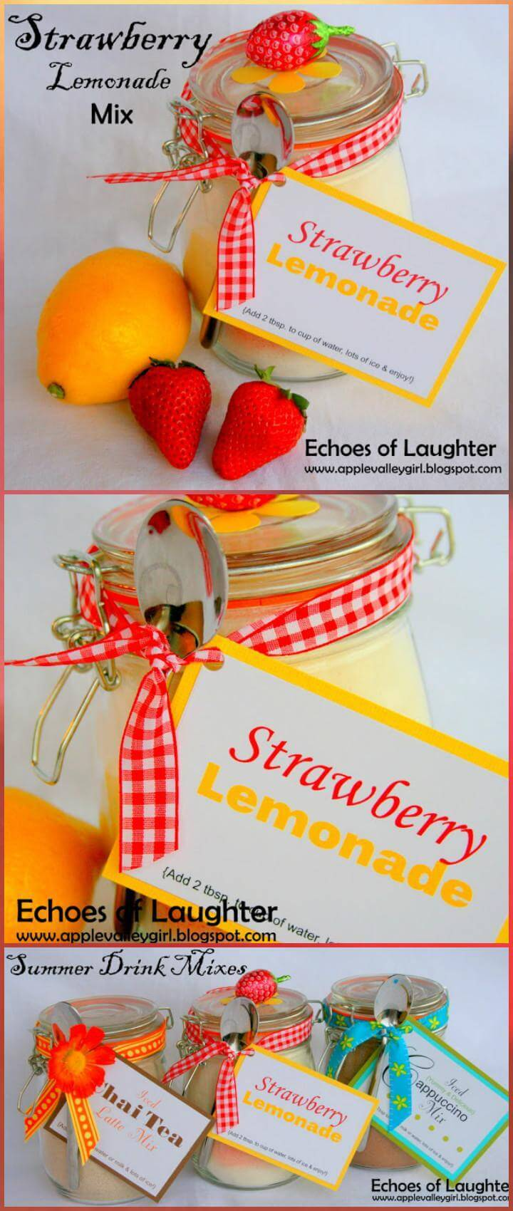 DIY easy strawberry lemonade mix