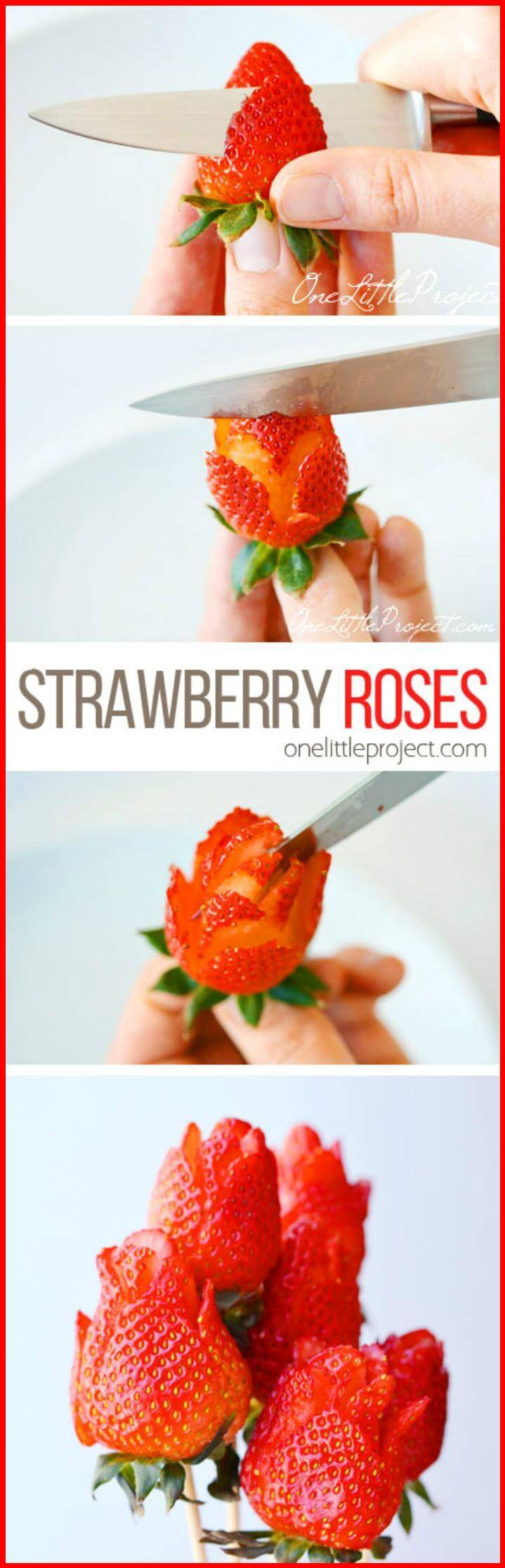 DIY self-made Strawberry roses for Mother's Day