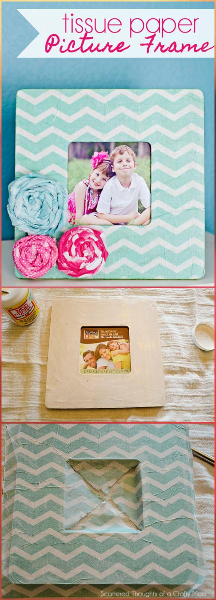 DIY tissue paper picture frame