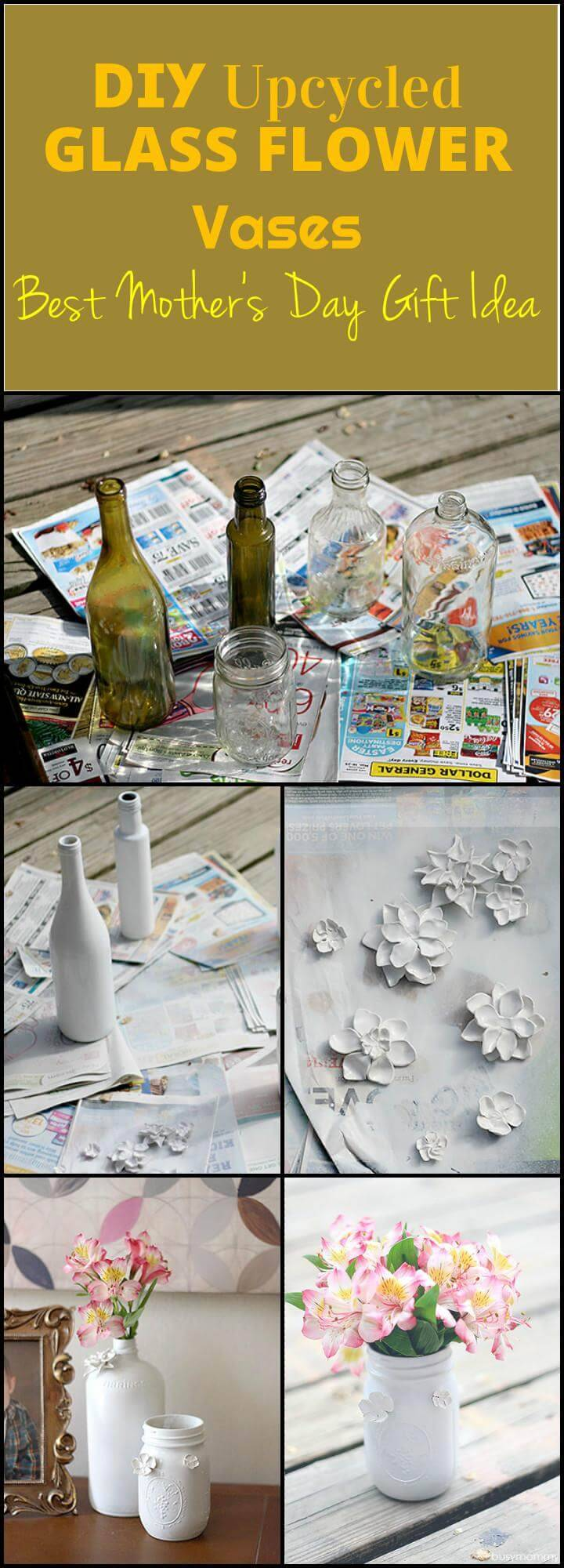 easy upcycled glass flower vases