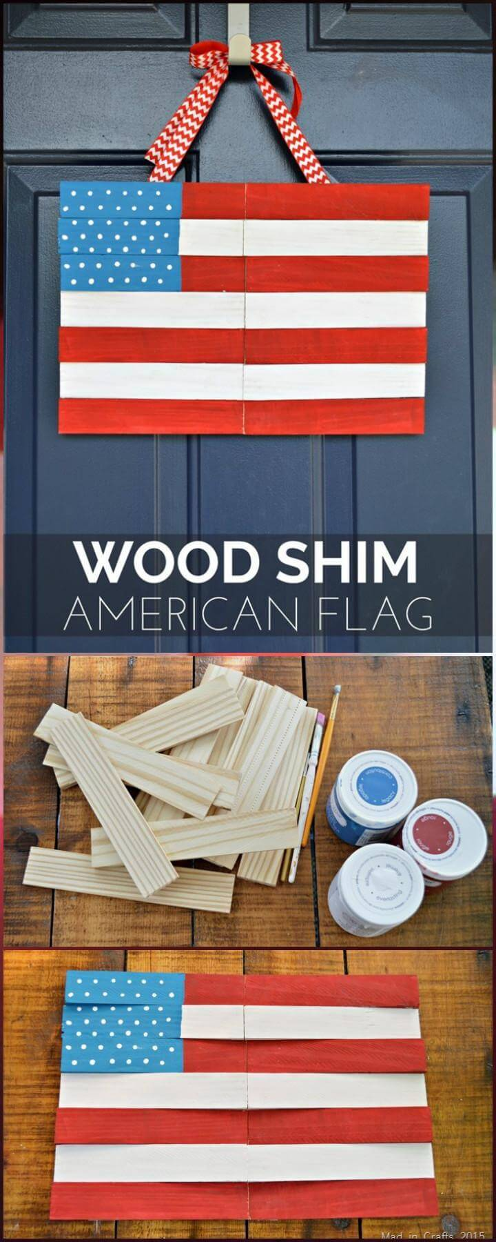 DIY Wood Shim American Flag Door Decor