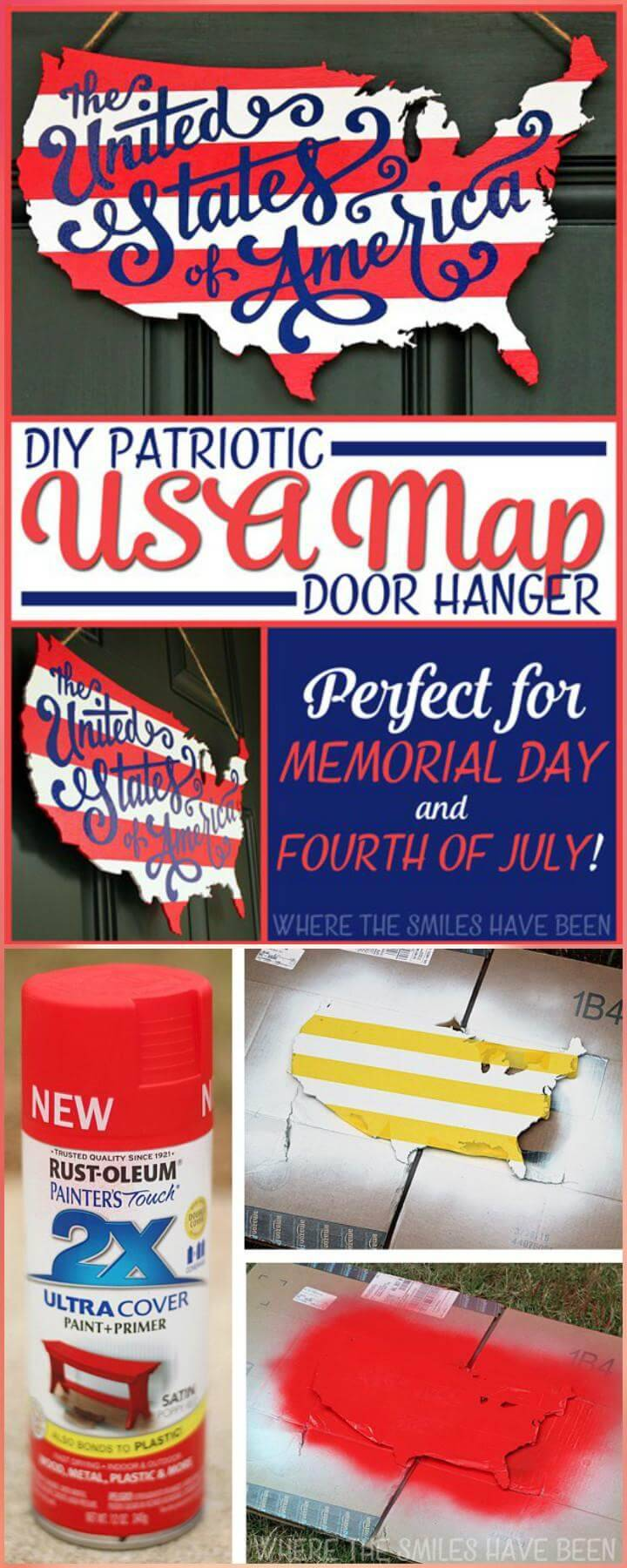 DIY Wooden Patriotic USA Map Door Hanger