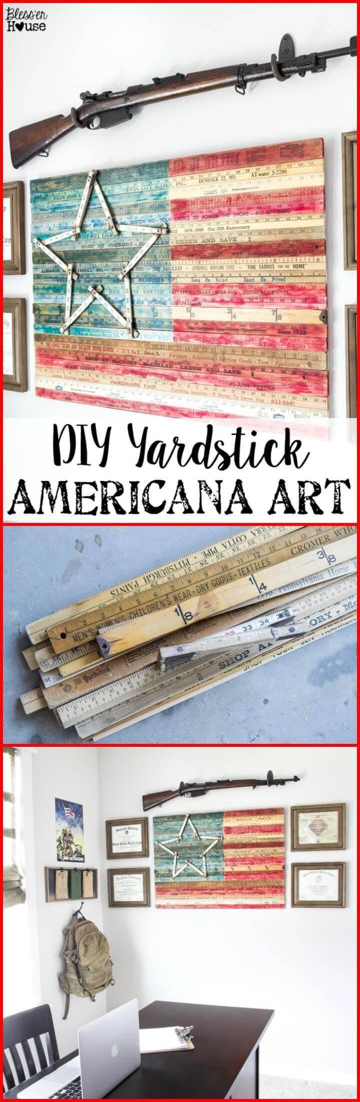 DIY easy yardstick American Flag Art