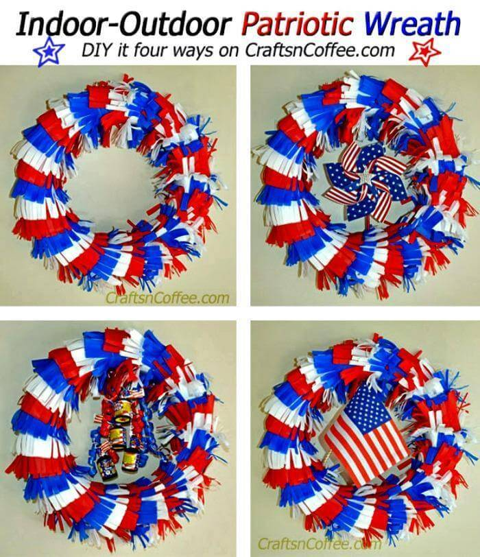 DIY an indoor-outdoor, Fringed Patriotic Wreath