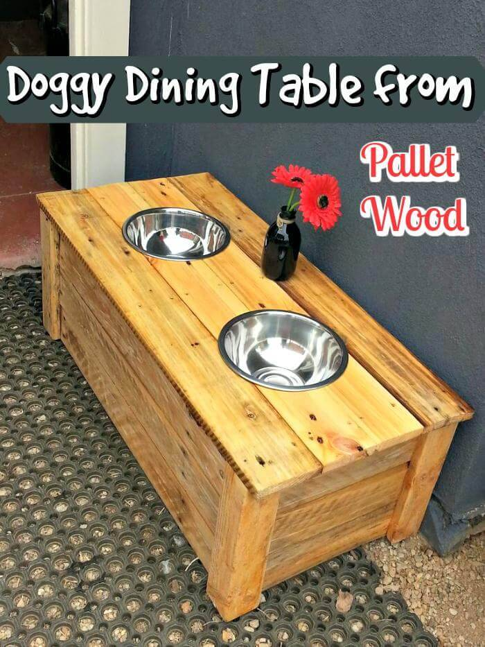 DIY Pallet Wood Doggy Dining Table