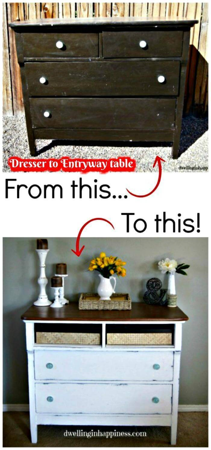 Dresser to Entryway table - DIY Before and After Project