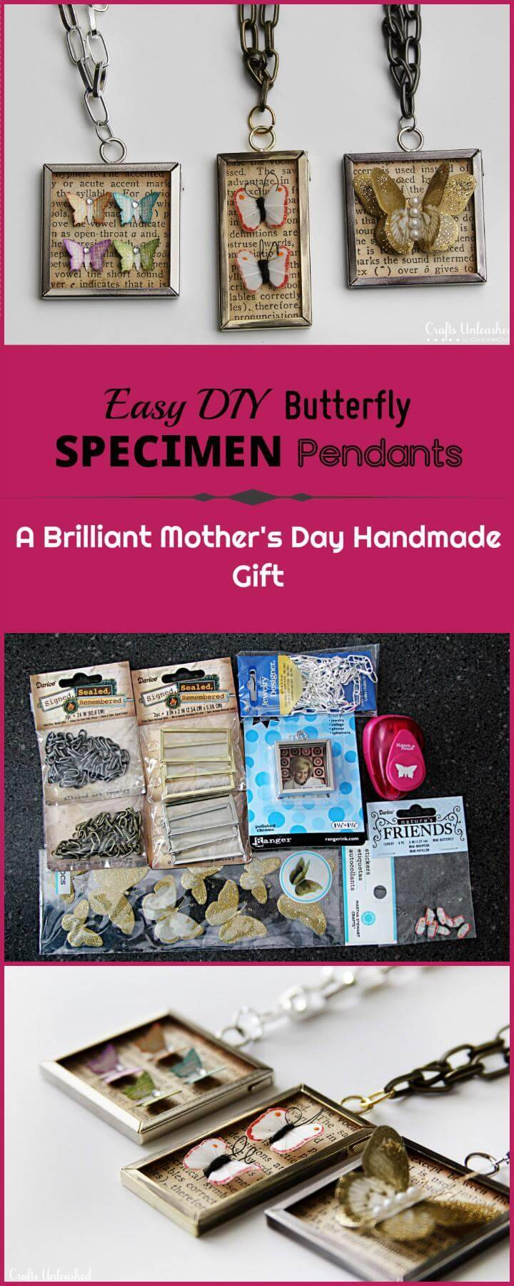 DIY easy yet beautiful butterfly specimen pendants