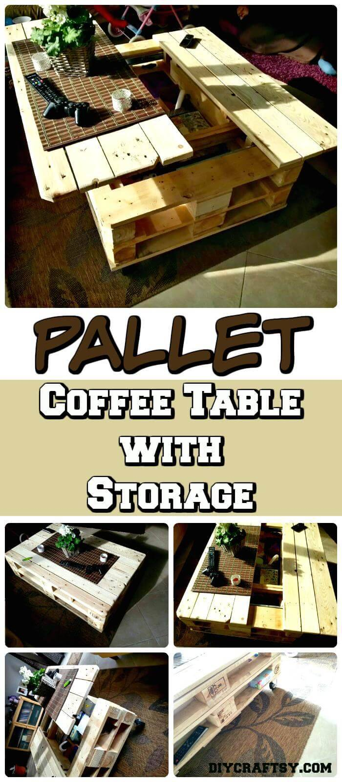 DIY Euro Pallet Coffee Table with Storage