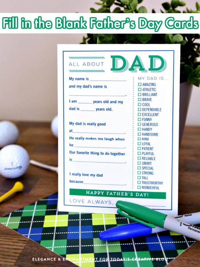 DIY Fill in the Blank Father's Day Cards