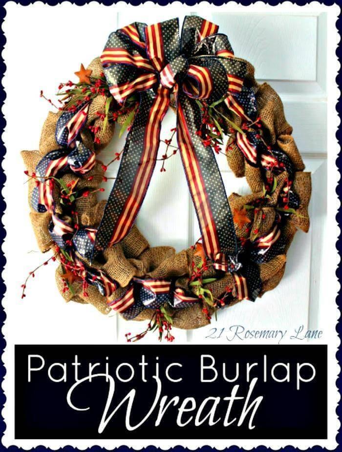 Fourth Of July Wreath - Patriotic Burlap Wreath