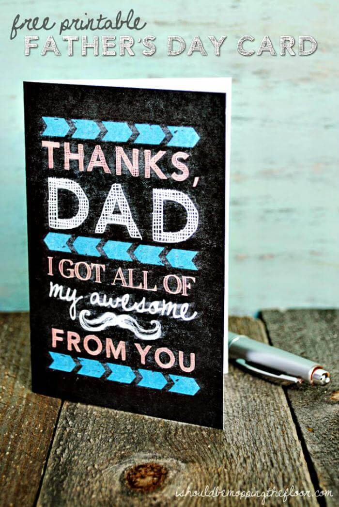 DIY Free Printable Chalkboard Father's Day Card