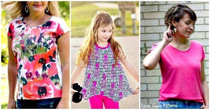 Free T-Shirt Sewing Patterns for Women & Kids