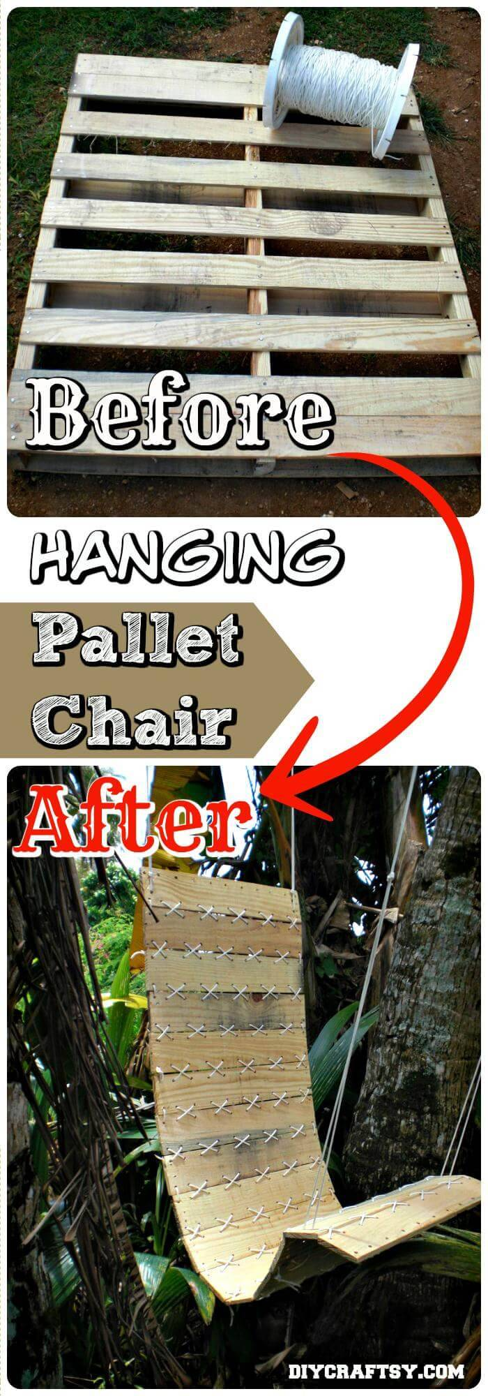 DIY Hanging Pallet Chair