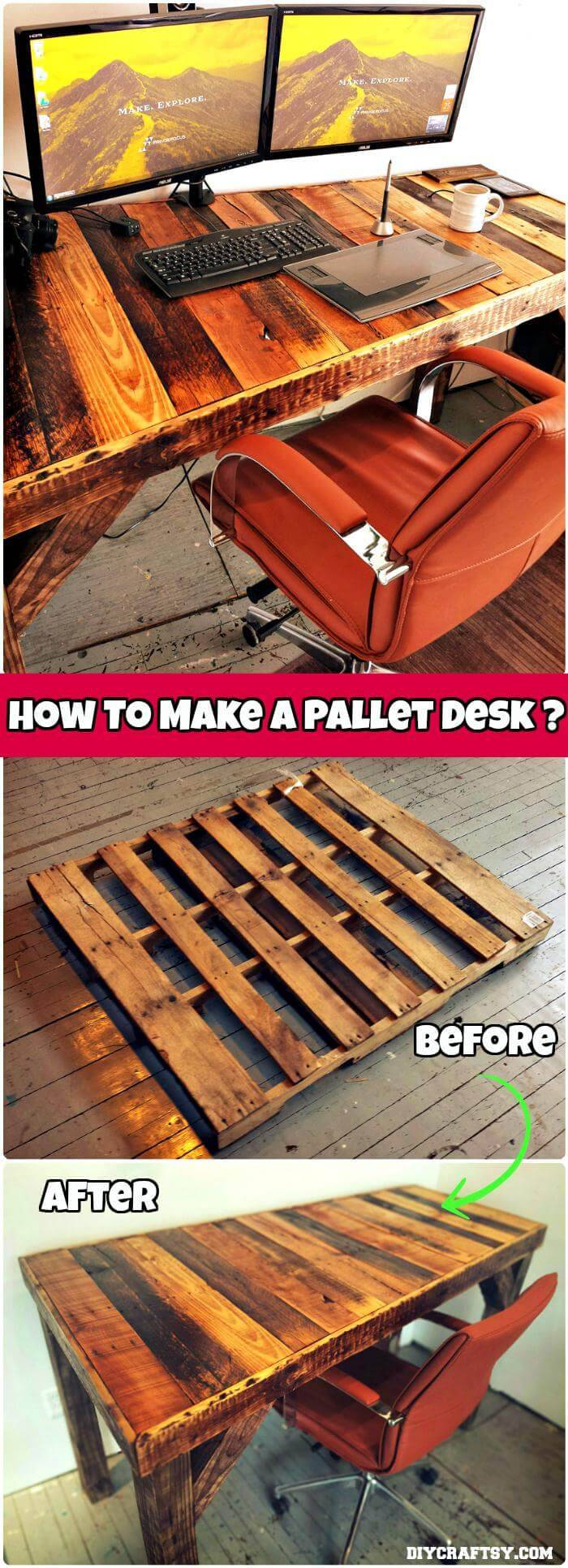 DIY Pallet Desk Tutorial
