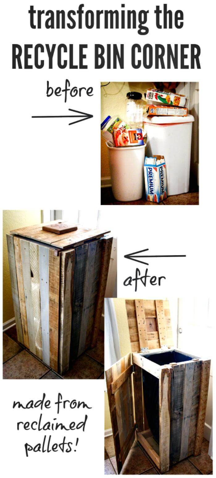 DIY Pallet Recycle Bin or Trash Can Tutorial