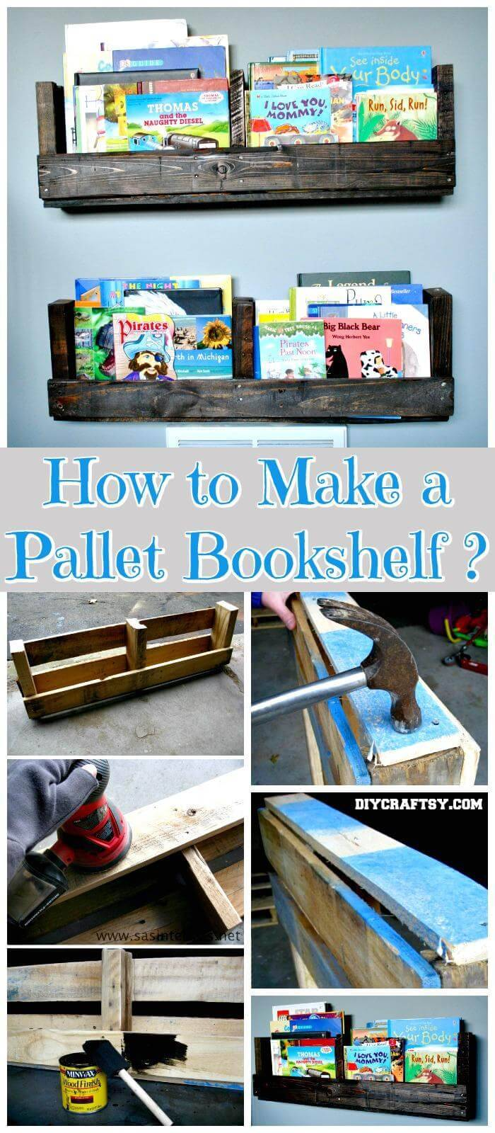 DIY Pallet Bookshelf Tutortial