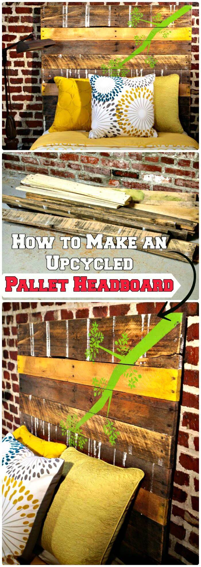 DIY Upcycled Pallet Headboard