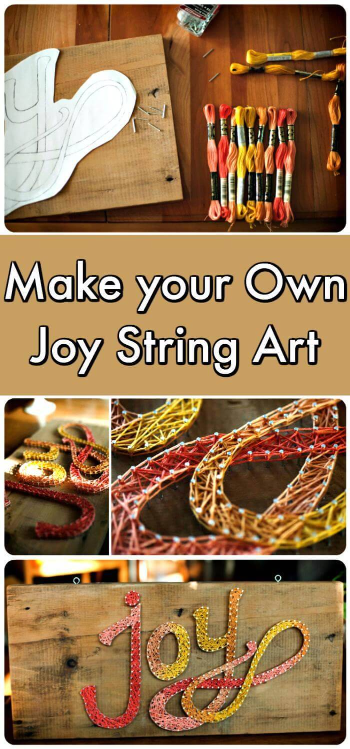 Joy String Art with Wood
