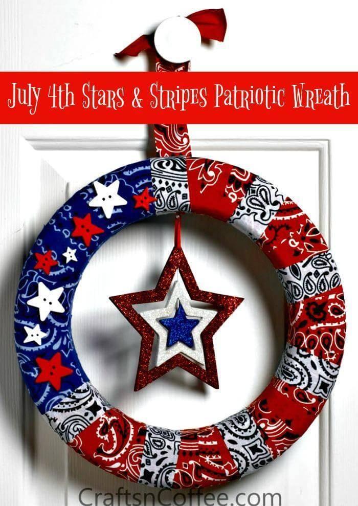 July 4th Stars & Stripes Patriotic Wreath