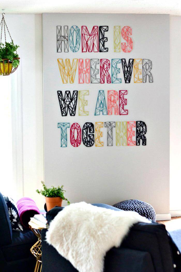 NAIL & YARN WALL ART - DIY String Art Project
