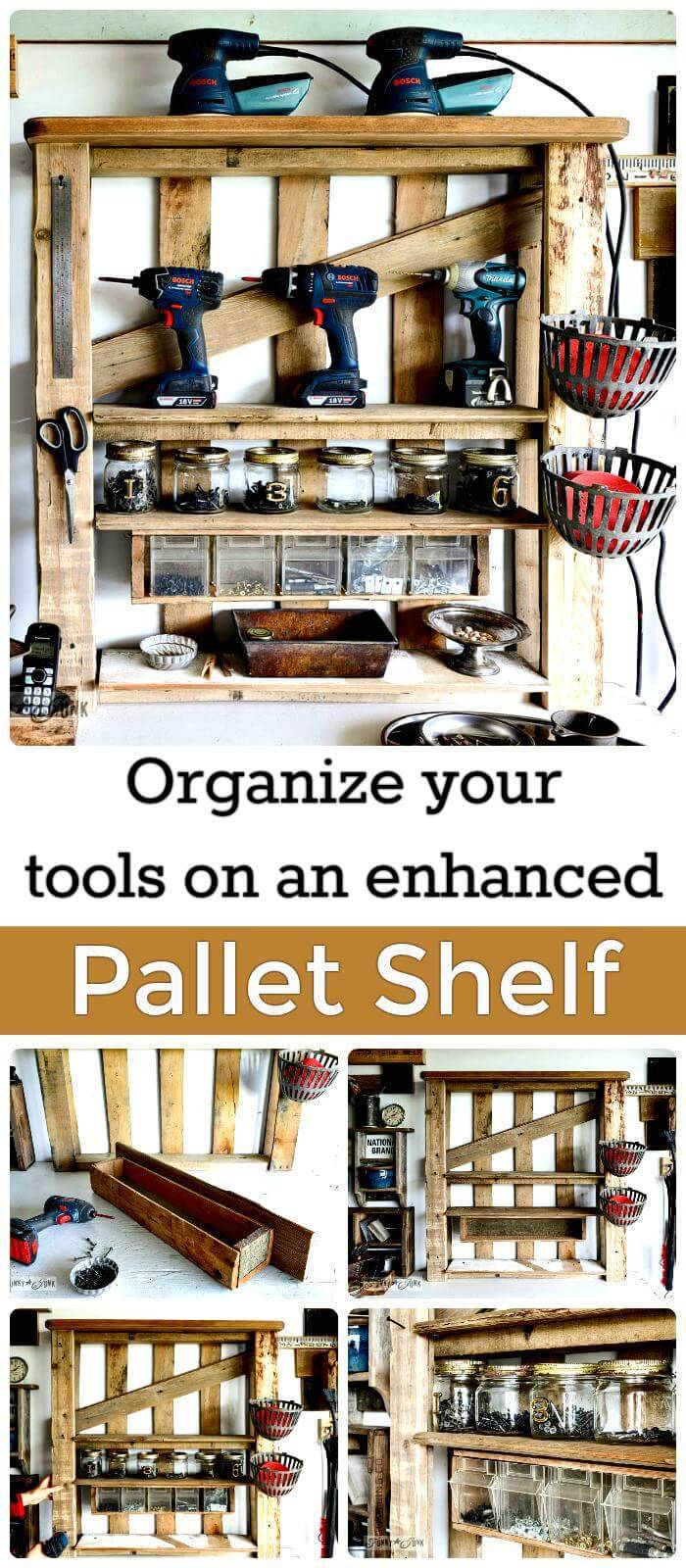 DIY Enhanced Pallet Shelf Tool Rack
