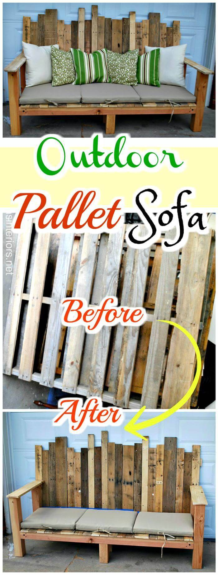Handcrafted Outdoor Pallet Sofa