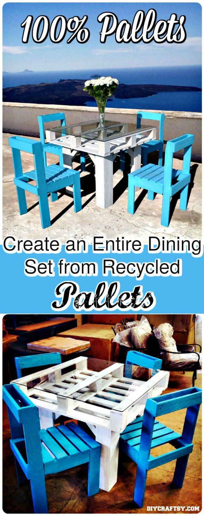 Self-Made Pallet Dining Table Set