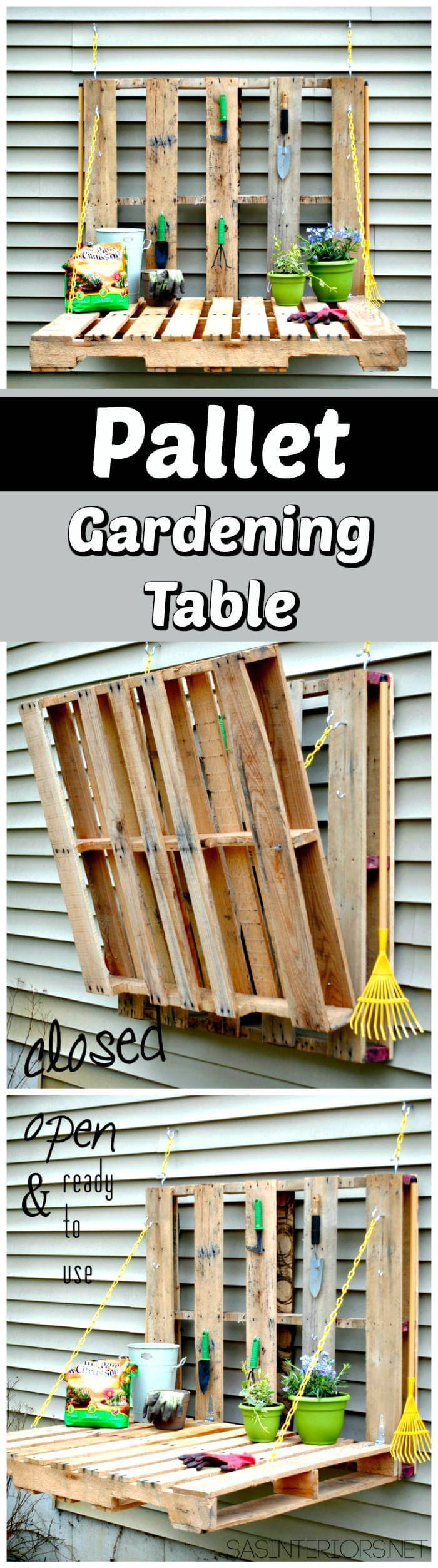 Wooden Pallet Gardening Table
