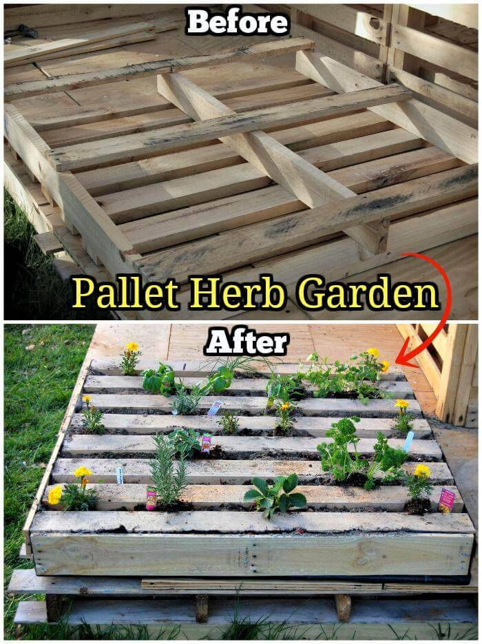 150 best diy pallet projects and pallet furniture crafts for Diy pallet herb garden