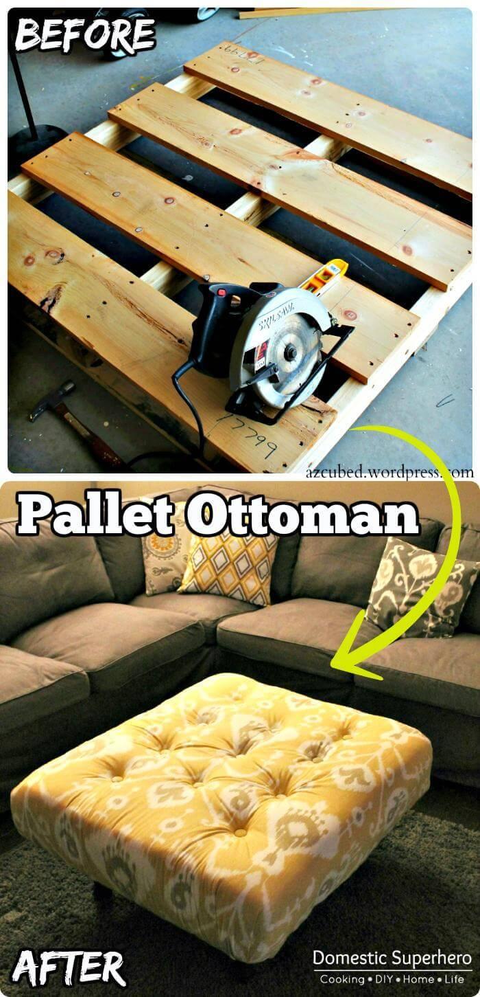 Hand-Built Wooden Pallet Ottoman
