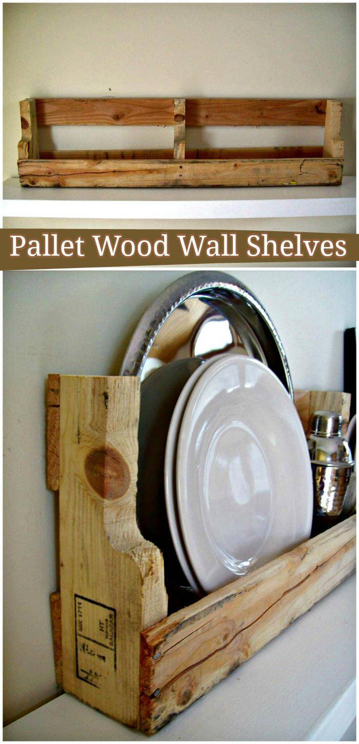 DIY Pallet Wood Wall Shelves
