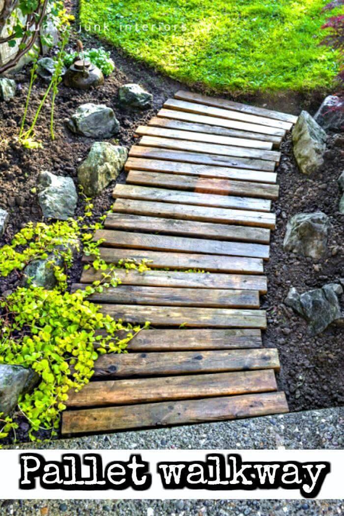wooden pallet walkway