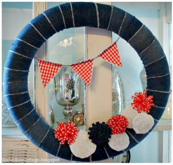 Patriotic Summer Pool Noodle Wreath - DIY