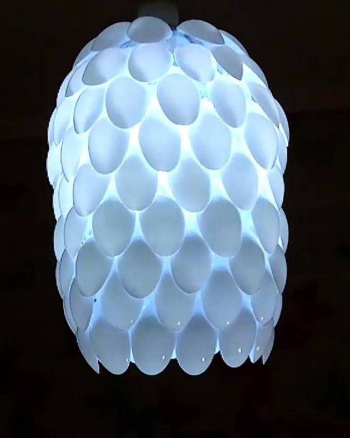 diy plastic spoon lamp how to diy crafts
