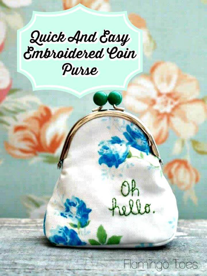 quick and easy embroidery coin purse