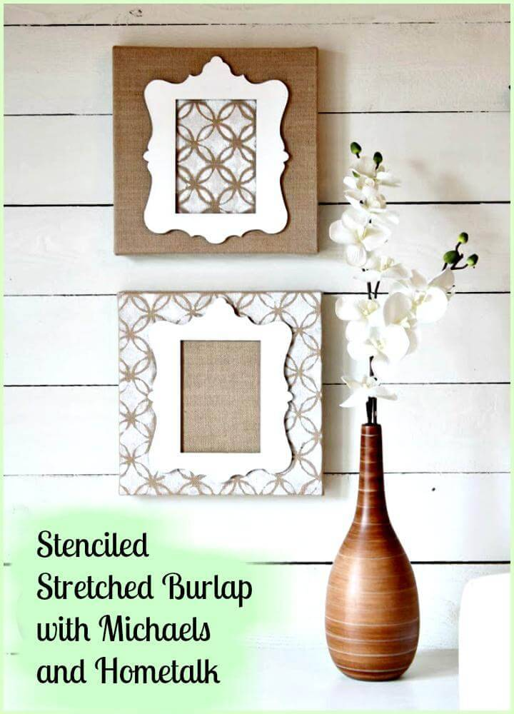 stenciled stretched burlap DIY Mother's Day gift