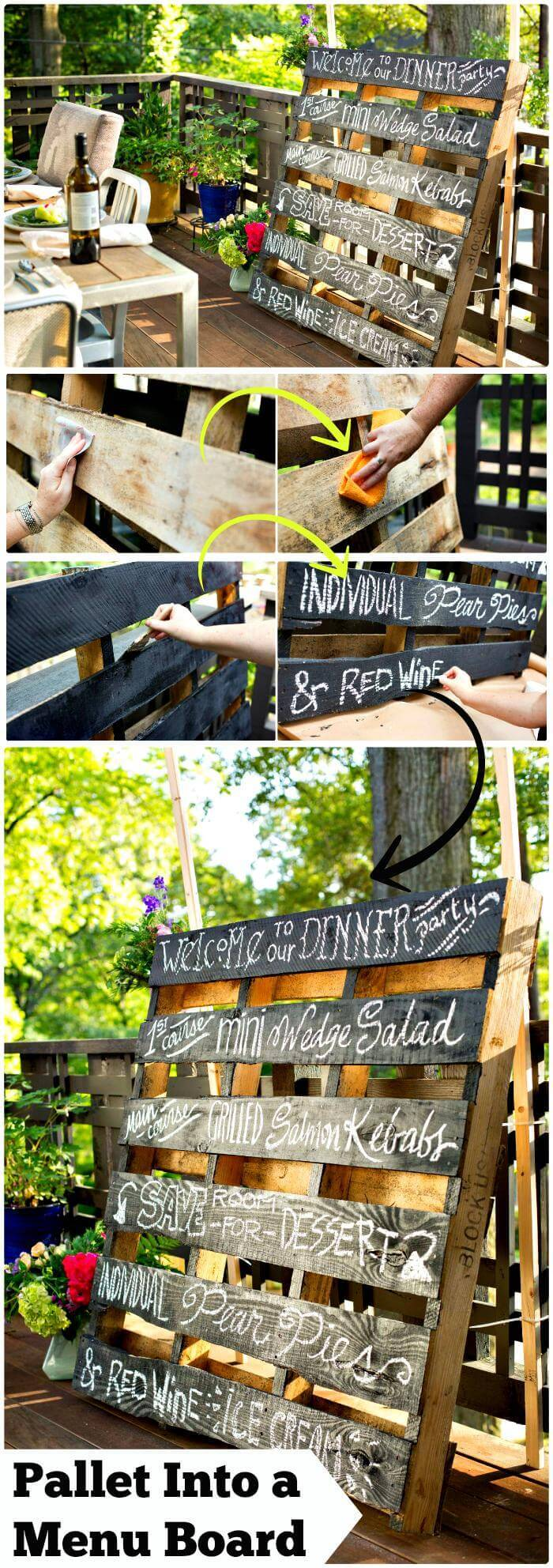 Reclaimed Old Pallet Bistro Style Menu Board