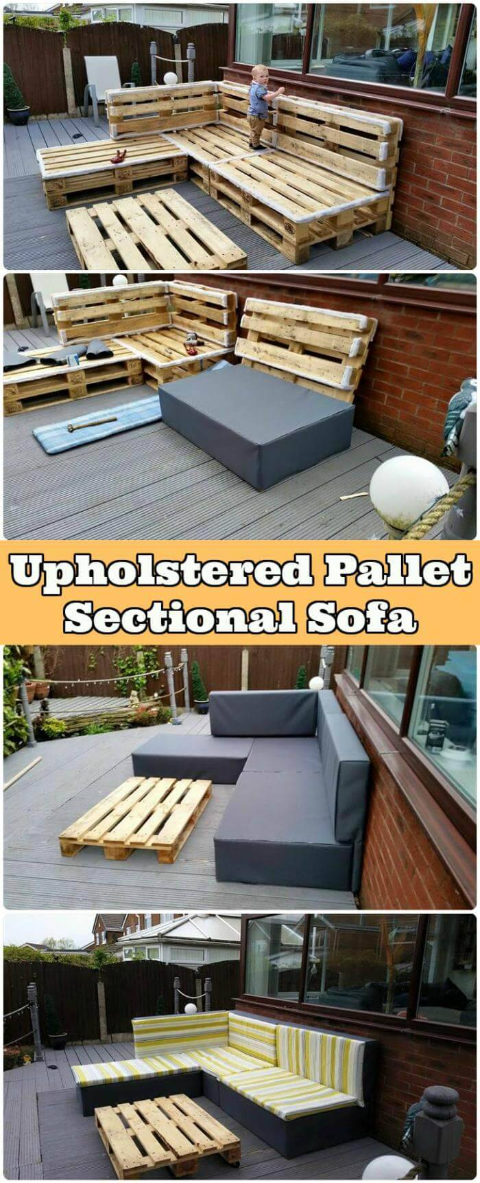 Upholstered Pallet Sectional Sofa
