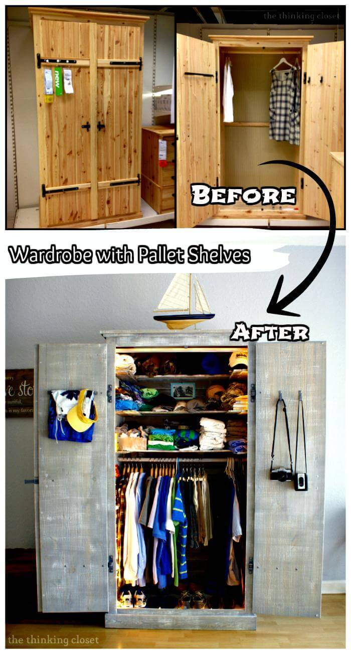 Wardrobe with Pallet Shelves