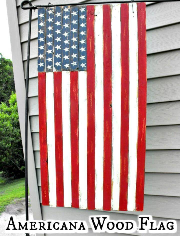 DIY handmade and hand-painted American wood flag