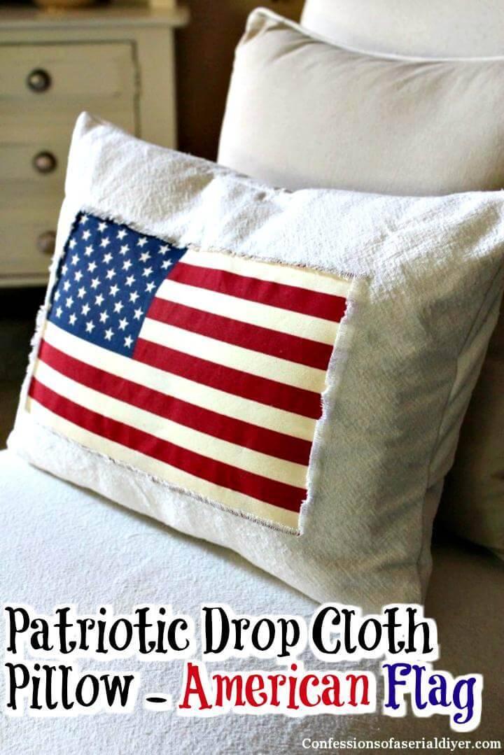 DIY American flag patriotic drop cloth pillow